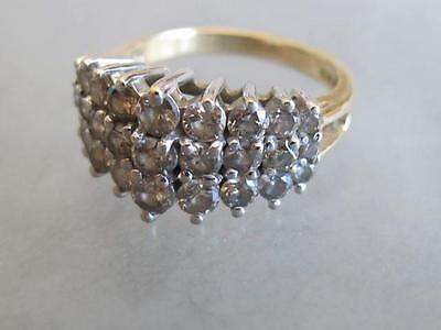 Vintage sz7 14K GOLD RING 3 rows of Diamonds in a peaked point 5.5g signed CJC