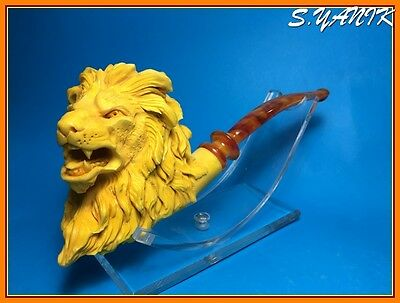 S.YANIK MEERSCHAUM Pipe LION SPECIAL CARVING FREE FITTED CASE
