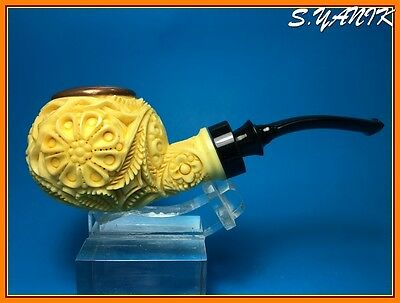 S.YANIK MEERSCHAUM Pipe DEEP CARVING ORNAMENT APPLE  FREE FITTED CASE