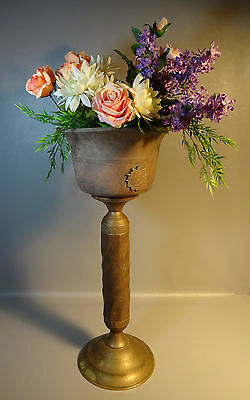 Vintage Brass Jardiniere w/ Barley Twist Pedestal Base & Applied Decorations