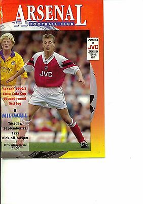 Arsenal v Millwall 1992/93 Coca Cola Cup 2nd round 1st leg