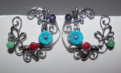 Carolyn Pollack Fritz Casuse Multi-Gemstone Garden Earrings