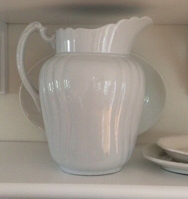 Vintage WHITE IRONSTONE PITCHER • Johnson Brothers, England • Large & Lovely !!