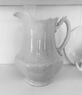 ANTIQUE VINTAGE MEAKIN WHITE IRONSTONE PITCHER • Large & Curvy Farmhouse Pitcher