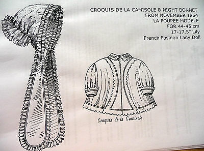 """Poupee Modele Pattern~Camisole & Night Bonnet For 17"""" French Fashion Lady Doll"""