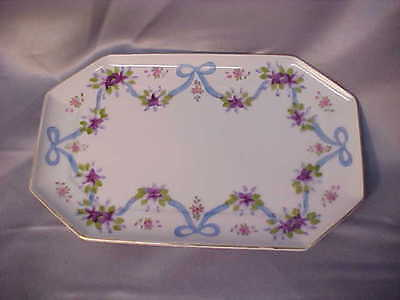 Nasco Imperial China Hand Painted Tray JAPAN Ribbons & Flowers Octoganal VGC FS