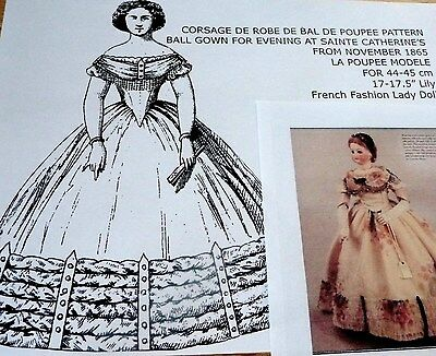 """La Poupee Modelepattern For Evening Ball Gown For 17"""" French Fashion Lady Doll"""