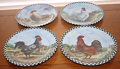 "4 Porcelain 8"" Diff Rooster Plates,Blk/White Checked Rims,Decorative Use Only"