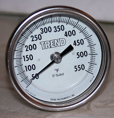 "50/550°F SS Thermometer  3"" Face 9"" Stem Trend Model 30"