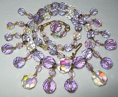 Fabulous Vintage 50S/60's Clear Ab & Purple Crystal Glass Drop Beads Necklace