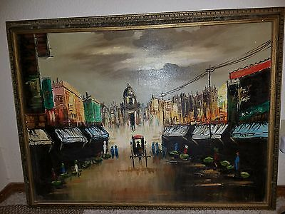 Vtg Impasto Oil Painting On Canvas The Republic Of The Philippines Signed Cortez