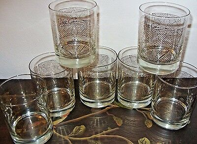 7 Oleg Cassini Canadian Club On The Rocks Old Fashioned Barware Glasses-Exc