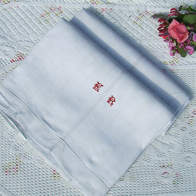 ANTIQUE FRENCH LINEN DOWRY SHEET Early with Embroidered Red Monogram ER