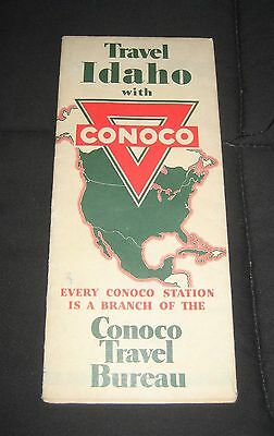 Vintage 1930s Conoco Oil Travel Idaho Road Map-Yellowstone, Grand Teton, Glacier