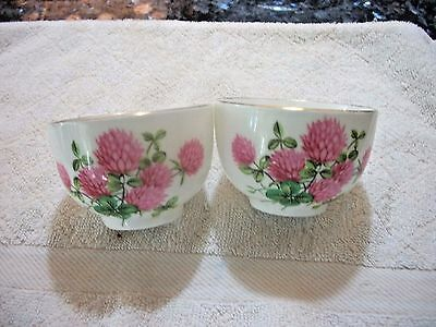 Pair Hammersley Handle less Bowls or Sugars  - Pink Anemone pattern