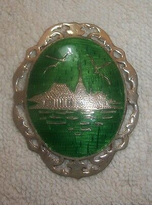 Vintage Thailand Sterling Silver w Green Enamel Flying Dragons Over City Pin