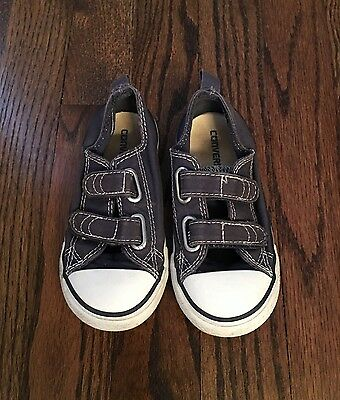Converse All-Stars Toddler Boy/Girl Velcro Navy Blue Shoes Size 8M
