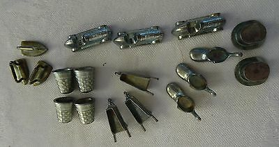 LOT OF  18 vintage Metal MONOPOLY Pieces