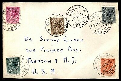 November 29, 1956 Biella Italy Cover Multifranked To Trenton New Jersey Usa