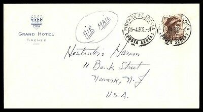 1968 April 26 Firenze Italy Grand Hotel Cover To Newark New Jersey Usa