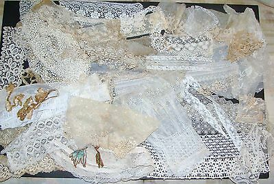 Pretty Lot Early VTG~Antique Lace~Trim Pieces~Long~Short~Nice Variety~All OLD!