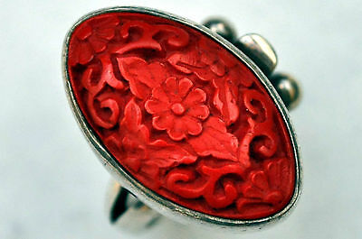 Antique Chinese Sterling Silver and Floral Cinnabar Ring Size 7