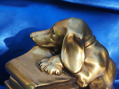 Mid Century bookend Metal Dachshund dog being bad!!!! Doxie loves Library books!