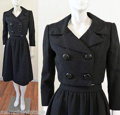 NORMAN NORELL Vtg 60s Designer Black Wool Suit 2 pc Jacket Skirt MOD Mid Century
