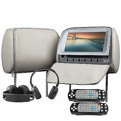 "Deluxe Dual 2x 9""Gray Car Headrests w DVD Player Digital Screen+Free Headphones"