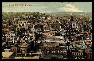 Dubuque Ia May 26 1913 Cancel On Birds Eye View Hand Colored Postcard