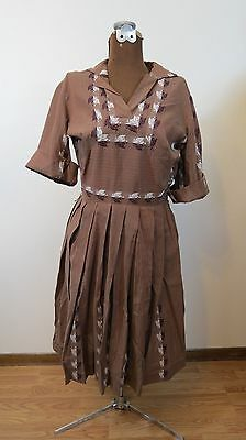 Vintage 50s Brown Shirtwaist Dress w Novelty Eagle Coat of Arms Size Med - As Is