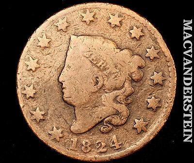 1824 Coronet Large Cent- Scarce !! Better Date !! #o1991