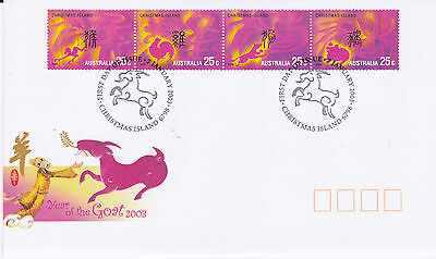 2003 Christmas Island Year Of The Goat (Strip of 4 x 25c Gummed Stamps) FDC
