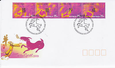 2003 Xmas Island Year of the Goat  FDC - (4 x 25c)