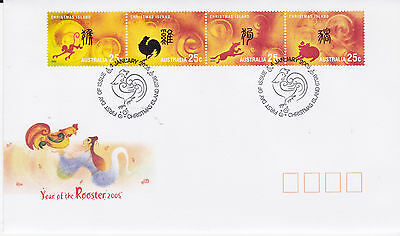 2005 Xmas Island Year of the Rooster  FDC - Strip 4x25c