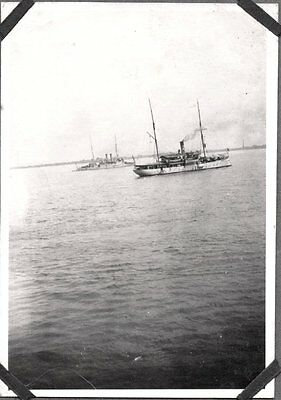 Vintage Photograph 1925-35 China Chefoo Military Navy Ships On Anchor Old Photo