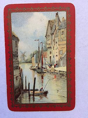 Vintage Swap / Playing Card - Dutch Canal Scene - Windmill - Linen
