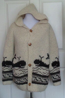 Vintage Heavy Knit Whale Themed Cardigan Sweater with Hood C50