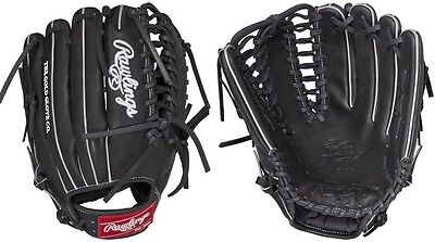 "Rawlings Black Outfield 12.75"" Heart of the Hide Baseball Glove Trap-Eze Web New"
