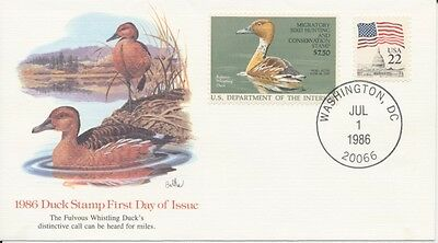 #RW53 1986 Federal Duck $7.50 Fleetwood Cachet First Day cover