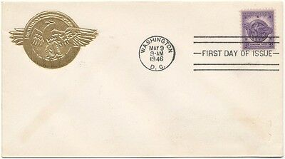 #940 Honorable Discharge Emblem Unknown Unlisted Gold Embossed cachet First Day
