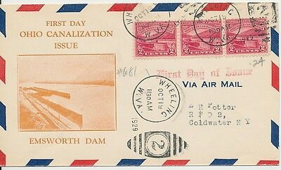 #681 Ohio River Canalization A.C. Roessler cachet First Day cover Wheeling West