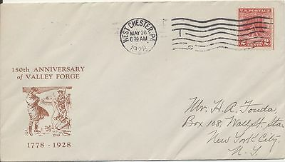 #645 Vally Forge George Washington Milton Mauck cachet First Day cover has sligh