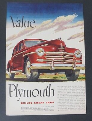 Original Print Ad 1948 PLYMOUTH  Vintage Art  H Miller White-Walled Tires