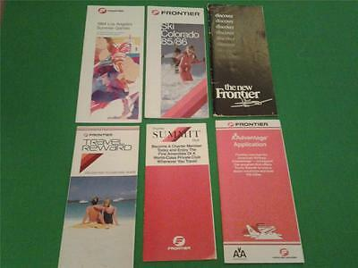 FRONTIER AIRLINES vintage brochure lot with route maps