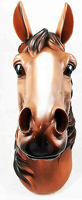 """Triple Crown Stallion Horse Head Bust Hanging Wall Mount Home Decor Statue 15""""H"""