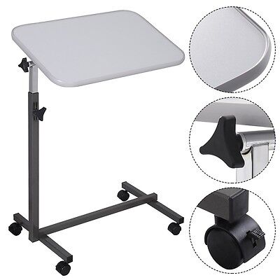 Adjustable Angle&Height Rolling Laptop Desk Table Stand Tray Over Bed Hospital U