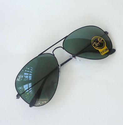 NEW RAY BAN RB3025 W3235 (Small) AVIATOR ARISTA BLACK /GREEN LENS SUNGLASSES55mm