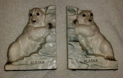 Vintage Ceramic Alaska Polar Bears Bookends
