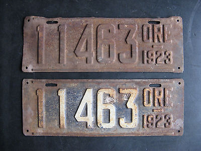 1923 Oregon License Plate Matched Pair -11463- Antique // Original